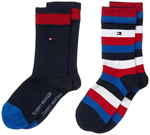 Tommy Hilfiger TH Kids Basic Stripe Sock Pack de 2 Calcetines para Niños, Azul (midnight blue 563), 35-38