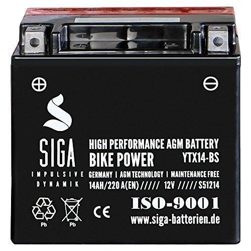 Motorrad Batterie YTX14-BS AGM Gel 14Ah 12V 220A/EN ETX-14-BS CTX14-BS YTX14-4 YTX14BS