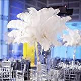 Shekyeon 18-20inch 45-50cm Ostrich Feather Wedding Table Decoration Party Festival Supplies Pack of 5(White)