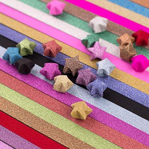 20 stk/partij Diamond Stars Paper Kleurrijke quilling papier Decoratief papier 18 kleuren Origami Lucky Star Paper Strips Star Materiaal, met gras begroeid