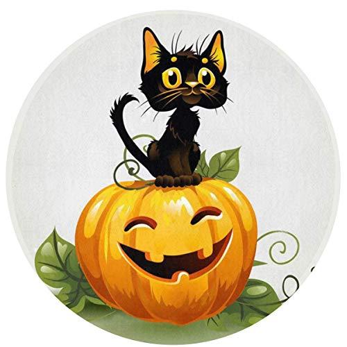 W-WEE Gato Negro Calabaza de Halloween Cómodo Cojines Antideslizantes Alfombra Redonda Alfombra Redonda Alfombrilla Linda Alfombra Redonda de baño 60cm