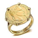 BOBIJOO JEWELRY - Anillo Sortija De Sello De Napoleón Conjunto De 6 Garras Chapado En Moneda De 20 Francos De Oro Doradas Louis Mujer El Hombre De Acero 316-24 (11 US), Dorado - Acero Inoxidable 316