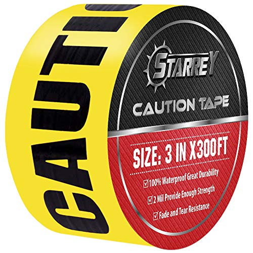 Starrey Caution Tape Roll 3 Inch X 300 Feet Yellow/Black Print for Strongest & Thickest Safety Quarantine Tape Bulk For Floor/Construction/Danger/Hazardous Areas Halloween Party Decoration