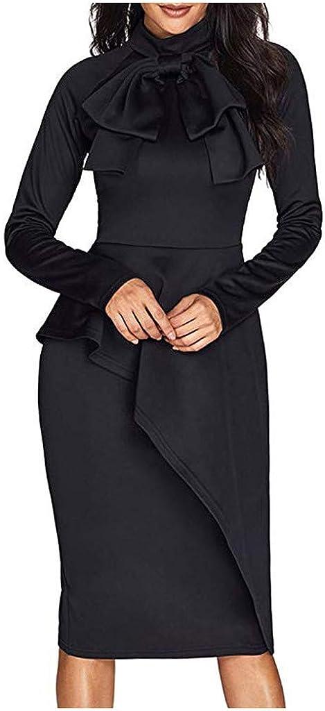 Fourtunes Women's Bow Tie Neck Long Sleeve Peplum High Waist Slim Fit Office Work Dress