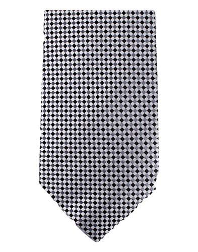 David Van Hagen Blanc/cravate gris/noir à carreaux de