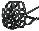 Genuine Leather Dog Basket Dog Muzzle #111 (Circumference 14.3', Snout Length 4') Pitbull, Rottweiler