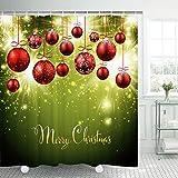 Alishomtll Weihnachten Duschvorhang, Antischimmel Duschvorhänge Textil Wasserdicht Shower Curtains Badewanne Waschbar mit 12 Haken, 175x178 cm, Polyester
