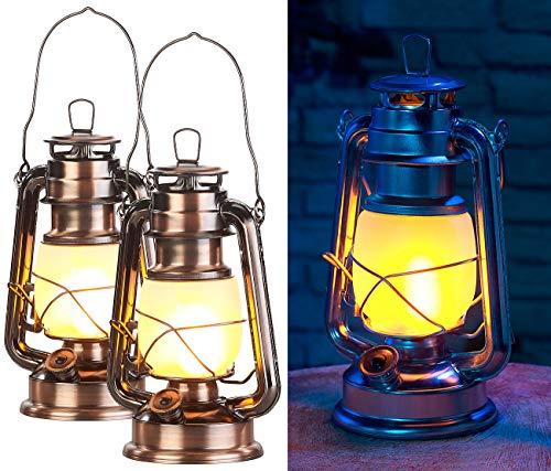 Lunartec Schiffslaternen: 2er-Set LED-Sturmlaternen mit Flammen-Effekt, 25 cm Höhe, bronzefarben (Windlaternen)