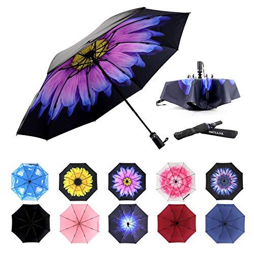 Siepasa Inverted Travel Umbrella, Anti-UV Waterproof Windproof Folding Umbrella -One button for Auto Open and Close (Glaze Flower)