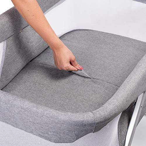 Lionelo Vera 3in1 Baby Bett Reisebett Baby Beistellbett Baby ab Geburt bis 9 kg luftige Seitenwände stabile Konstruktion Faltmatratze Moskitonetz Grau - 7