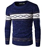 Xinleijd Incomparable Men Pullover Sweaters Crew Abstract Pattern Sweater Autumn Jumpers -
