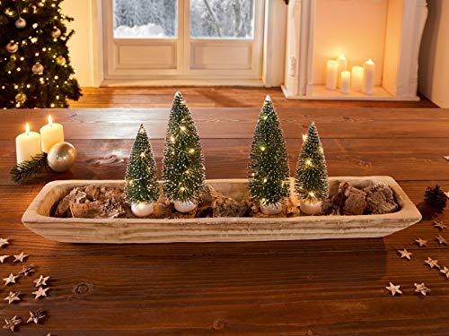 Holzschale Wood, Natur, 60 cm lang, Obstschale, Servierschale, Dekoschale, Kerzenleiste