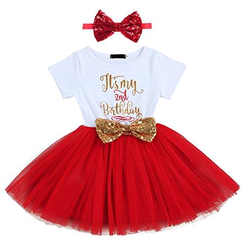 FYMNSI Baby Säugling Mädchen Es ist Mein 1. / 2. Geburtstag Party Kleid Outfit Kurzarm Tütü Tüll Prinzessin Geburtstagskleid mit Pailletten Schleife Stirnband Fotoshooting Babykleidung Set Rot