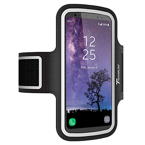 Trianium Armband, Water Resistant Large Cell Phone Armband for iPhone 12 Pro,12 Mini,11 Pro Max Xs Max XR X 8 Plus, Galaxy S20 S10 S10e S10+ Note 10 and More Workout Band Skin & Key Holder(2nd Gen)