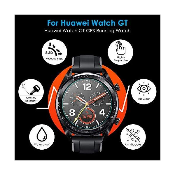 CAVN Compatible con Huawei Watch GT Protector de Pantalla, [4 Packs] Impermeable Vidrio Templado Protector de Pantalla… 6