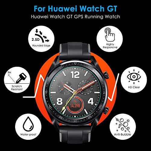 CAVN Panzerglas Kompatibel mit Huawei Watch GT Sport /Classic /Active Schutzfolie [4-Stück], (Nicht für GT 2) Wasserdichtes gehärtetes Glas Anti-Scratch Anti-Bubble Displayschutzfolie Schutz für GT - 3