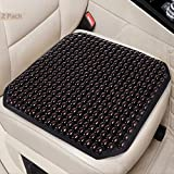 Big Hippo 2PCS Wood Beaded Seat Cushion Wood Beaded Car Seat Cover Massage Comfort Car Seat Cushion Cooling Wooden Bead Covers for Car Truck Home Office Chair