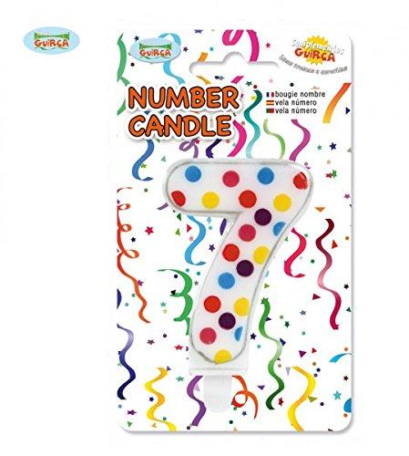 Guirca- Candela Numero 7' a Pois per Decorazione Torta, Multicolore, 6.5 cm, 32519