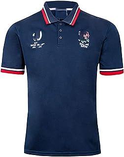 メンズイングランドワールドカップラグビージャージ2019アウトドアスポーツポロシャツ、コットンコンフォート