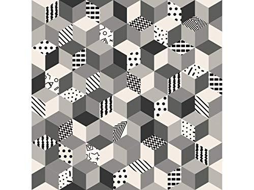 Oedim Tapis Carpette Vinylique Lino Carrés avec des Formes | 95 cm x 120 cm | Décoration Maison | Tapis en PVC | Sol en Vinyle