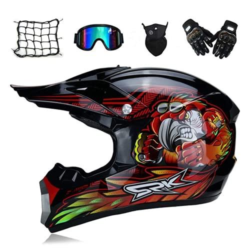 Casco Motocross Hombre, Negro Y Rojo, Casco Adulto Motocicleta Cruz De Motocicleta Conjunto De Motocicletas (5 Piezas) con Forro Extraíble, BMX Integral Scooter ATV ATV,M