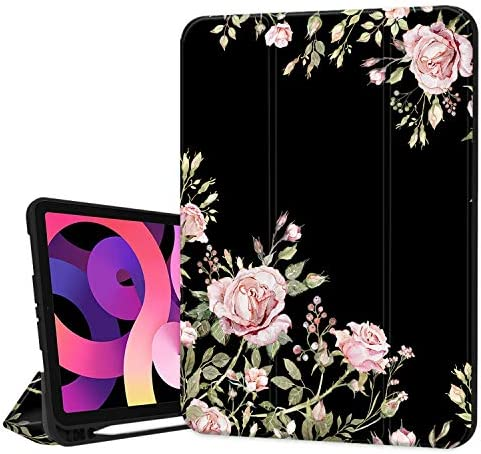 Hepix Flower iPad 10 9 inch Air 4th Generation Case with Pencil Holder 2020 Pink Rose Floral product image
