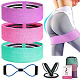 Kinfayv 6 PCS Booty Bands Set, Resistance Bands Set for Women/Men Legs and Butt, Upgrade Thicken Widen Non-Slip Workout Bands with Figure 8 Stretch Bands and Jump Rope for Squat Glute Hip Training