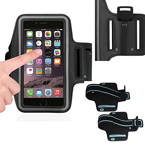 Black Armband Exercise Workout Case with Keyholder for Jogging fits Jethro SC628 3G Senior Cell FLIP Phone. for Arms up to 12 inches Big, Works Best with no Cover on Your Phone.
