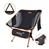 Nice C Ultralight Portable Folding Camping Backpacking Chair Compact & Heavy Duty Outdoor, Camping, BBQ, Beach, Travel, Picnic, Festival with 2 Storage Bags&Carry Bag (1 Pack of Orange)