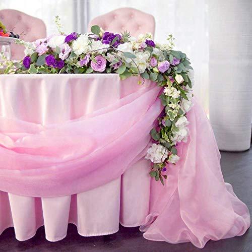 10M x 1.35M Tessuto Organza Swag Tulle Matrimonio Decorazioni Festa Natalizie Gonna da Tavolo Accessori Natalizi Tovaglia - Rosa Chiaro