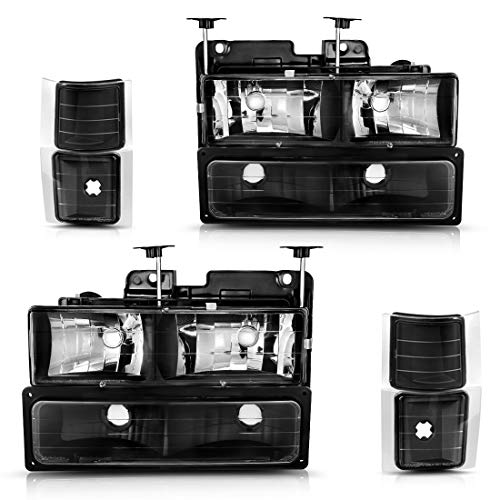 AUTOSAVER88 Headlight Assembly Kit for Chevy C/K Series 1500 2500 3500 / Chevy Tahoe/Chevy Suburban/Chevy Silverado Headlamps Replacement w/Corner & Bumper Black Housing Clear Lens
