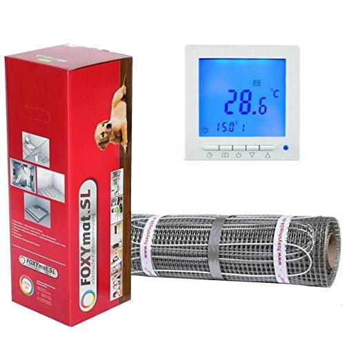 elektrische Fußbodenheizung FOXYMAT.SL (160 Watt pro m²) mit Thermostat QM-BLUE, 1.0 m² (0.5m x 2m)