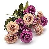 2 Ramo de Flores Artificiales, Peonía Artificiales en Flor, Flores Seda para Boda, Hogar, Jardín, Fiesta, Mesa Decoración, Arreglos Florales (Morado y champagne)