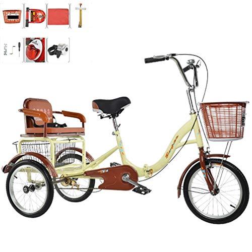 Dreirad Erwachsenes 3-Rad-Fahrrad mit menschlichem Antrieb Einkettiger Faltbarer Old-Man-Roller mit Rücksitzkorb und Pedal-Tandem-Fahrrad Kinder 16 Zoll 20 Zoll aufnehmen und Fallen Lassen