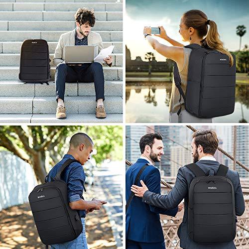 MOSFiATA 25L 17,3 Zoll Laptop-Rucksack für Männer und Frauen, wasserdichter Rucksack mit USB-Ladeanschluss, Anti-Squeeze-Arbeits- / Schul- / Reiseschulrucksack, schwarz