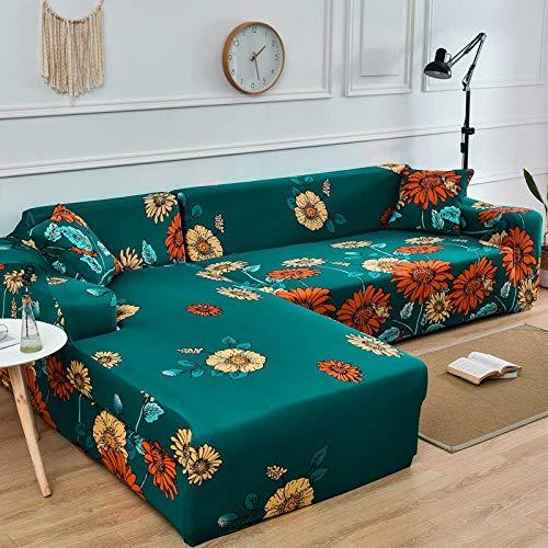 ASCV Fundas de sofá Funda de sofá en Forma de L Funda de sofá elástica para Sala de Estar Chaise Lounge Funda seccional A4 1 Plaza