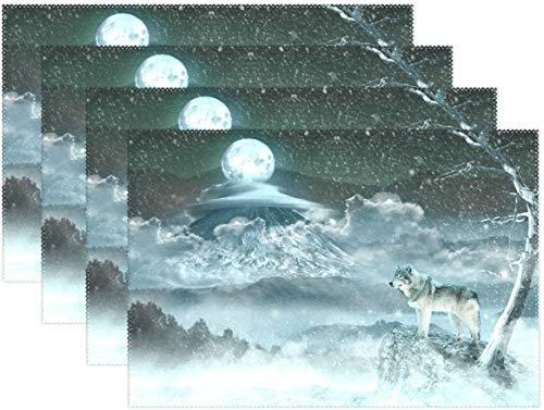 HEOH Manteles Individuales de 12 x 18 Pulgadas, Juego de 6, Moon Wolf Snow Snowflake Table Mat Mesa de poliéster para Cocina Comedor para niños
