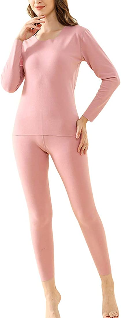 Puimentiua Women's Ultra Soft Thermal Underwear Set with Fleece Lined Top & Bottom Thermals Suit Womens Base Layer Set.