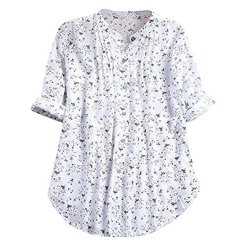 Nuevo 2021 Blusa Mujer otoño Elegante Impresión Talla grande Manga Larga Moda Vestido Blusas Algodón y lino Camisa de oficina Cuello en v Camiseta Largo Tops Casual Suelto fiesta T-Shirt original tee