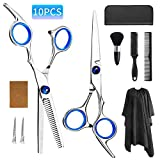 Hair Cutting Scissors Shears Kit,Hair Scissors Professional Stainless Thinning Scissors With Flat Shears, Teeth Shear, Comb,Salon Cape,Hair Clip,Neck Duster Brush,Hair Razor Comb,Case for Men/Women