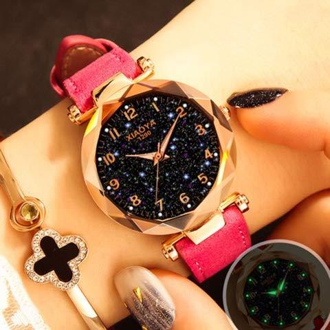 ALISUO MYDD AYSMG XIAOYA Moda Mujeres Star Sky Dial Correa de Cuero PU Relojes de Pulsera de Cuarzo (Negro) (Color : Pink)
