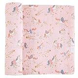 Mud Pie Unicorn Muslin Swaddle Blanket, Pink, 47x47 inches (#912140061)