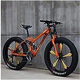 MKWEY 26 Pouces VTT Homme Femme, Bikes Vélo Hardtail Fat Tire, Double Cadre de Suspension et Fourche à Suspension Tout Terrain,21 Speed,Orange 5 Spoke