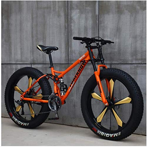 Mountain Bikes for Men Women, 26 Inch Fat Tire Hardtail MTB Bikes, Dual Suspension Frame and Suspension Fork All Terrain Mountain Bicycle,21 Speed,Orange 5 Spoke