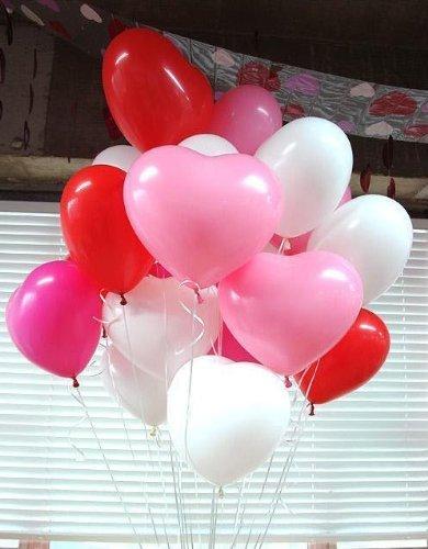『風船 ハート型 バルーン 3色アソート (赤、白、ピンク) 50個入り 2WAYハンドポンプ付き』の1枚目の画像