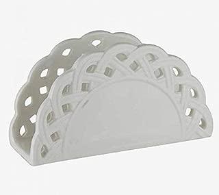 Q&Q 2871032 White Eyelet Ceramic Napkin Holder