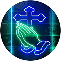 Praying Hands Cross Display Dual Color LED看板 ネオンプレート サイン 標識 緑色 + 青色 300 x 400mm st6s34-i3262-gb