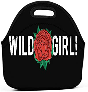 Lunch Tote Bag Cute Lunch Box Lunchbox Large Reusable Lunch Bag slogan graphic design red rose trendy female style typography print wild girl embroidery patch