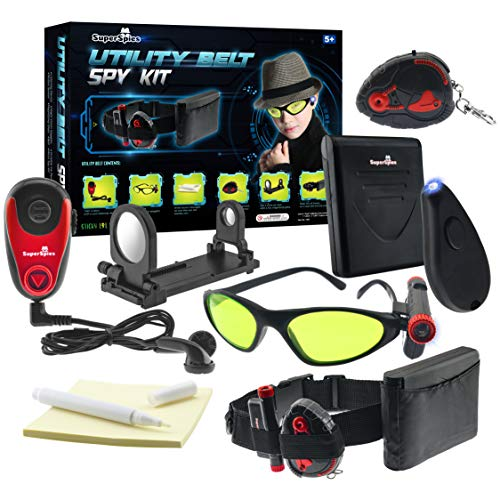 STICKY LIL FINGERS SuperSpies Utility Belt Spy Kit - Toy Gear for Kids - Play Secret Agent with Complete Accessories Includes Goggles Magnifying Lens Pens and More Great Gift for Boys and Girls