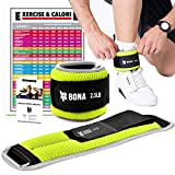 BONA Fitness Adjustable Ankle Weights with Reflective Trim Set-2-5lbs for Men and Woman(N Fluorescent Green